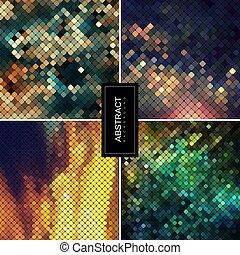 brillante, conjunto, fondos, mosaico, vector