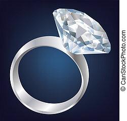 brillante, diamante, brillante, ring.