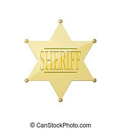 brillante, insignia, alguacil