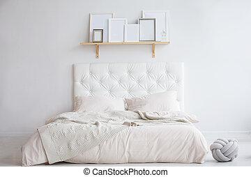brillante, interior, cama, dormitorio