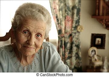 brillante, mujer, ojos, anciano