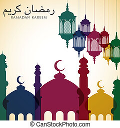 brillante, vector, ramadan, tarjeta, formato