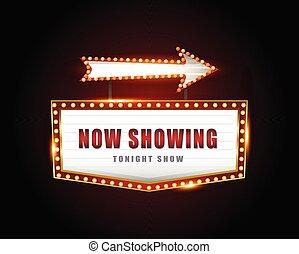 brillantemente, señal, cine, retro, encendido, neón, teatro