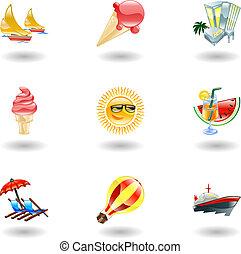Brillantes iconos de verano
