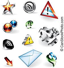 Brillantes iconos del vector 3D