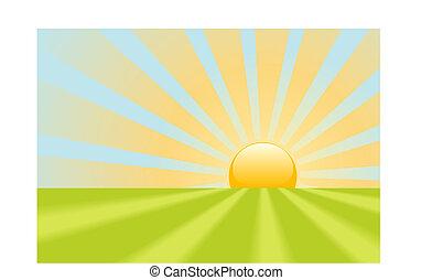 Brillantes rayos amarillos brillan en la escena de la tierra