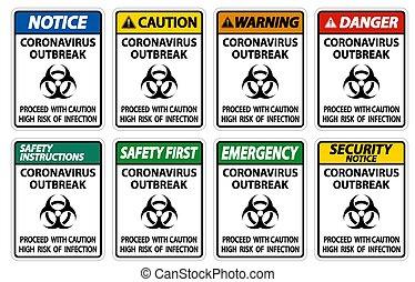 brote, blanco, aislar, señal, ilustración, coronavirus, plano de fondo