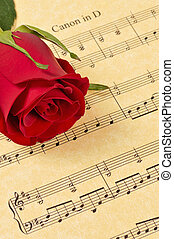 brote, música hoja, rosa roja