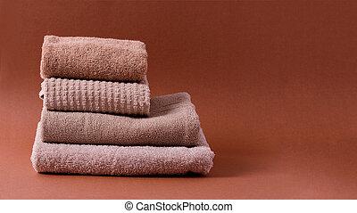 brown-hued, algodón, toallas, marrón, limpio, pila, fondo.