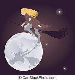 Bruja en un palo de escoba volando luna de fiesta en el cielo estrellado