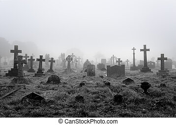 brumoso, cementerio, plano de fondo