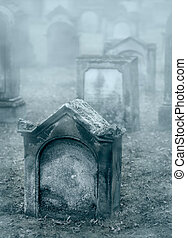 brumoso, viejo, crepúsculo, cementerio