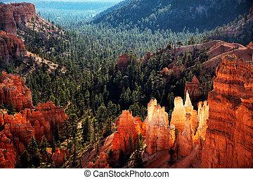bryce, estados unidos de américa, utah, meridional, cañón, vista escénica