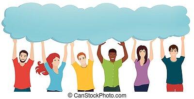 bubble., tenencia, gente, thoughts., social, comunicación, conexión, speak., compartir, diverso, el socializar, el comunicarse, hablar, información, multiétnico, informing., network., ideas, grupo, discurso