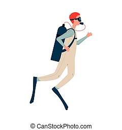 buceo, carácter, caricatura, vector, ilustración, isolated., plano, escafandra autónoma, hombre