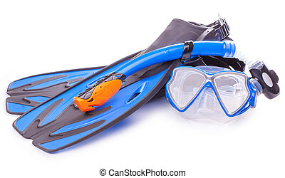 buceo, flippers., azul, gafas de protección, esnórquel, aislado