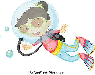 buceo, niña, escafandra autónoma