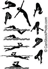 buceo, siluetas, natación, hembra, y