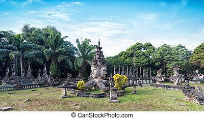 buddha, vientiane, público, turista, parque, atracción, park., laos