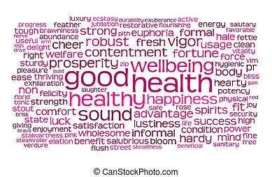 Buena salud o nube de etiqueta