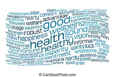 Buena salud y buena nube de etiqueta