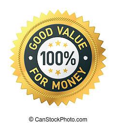bueno, dinero, valor, etiqueta