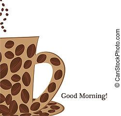 bueno, taza, café, mañana
