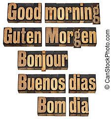 Buenos días en cinco idiomas
