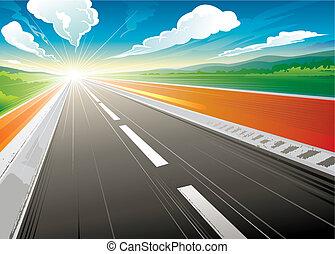 Buenos días en la carretera