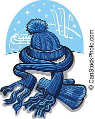bufanda, lana, ropa, invierno, mitón
