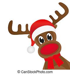 bufanda, venado, navidad, rojo, wavin