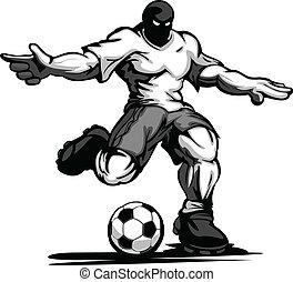 Buff futbolista pateando pelota