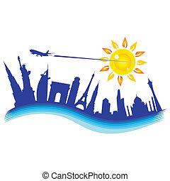 buliding, avión, ilustración, viaje