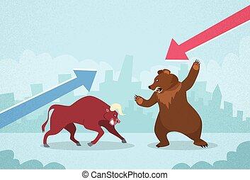 Bull vs Bear bolsa concepto negocio financiero