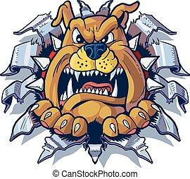 Bulldog arrancando fondo de metal