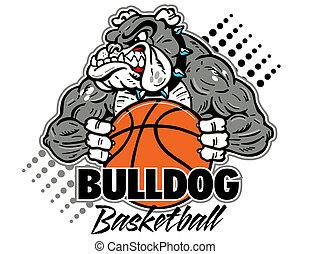 Bulldog con baloncesto