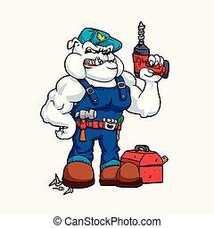 Bulldog Handyman con taladro en la mano y herramientas.
