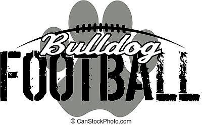 bulldog, impresión, fútbol, pata