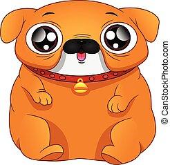 bulldog, plano de fondo, inglés, caricatura, blanco