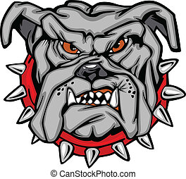 bulldog, vector, caricatura, cara
