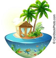 Bungalow bajo palmera en la isla tropical