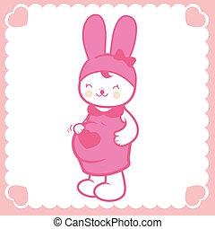 bunny., lindo, vector, ilustración, embarazada