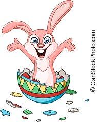 Bunny saliendo del huevo de pascua