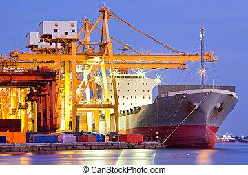 buquede carga, industrial, contenedor