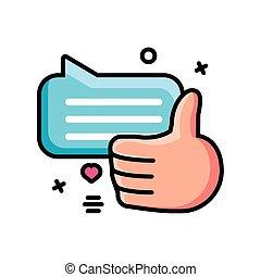burbuja, aprobación, mano, discurso, símbolo