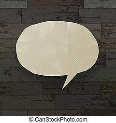 Burbuja de discursos sobre la textura de madera. Ilustración del vector, EPS10