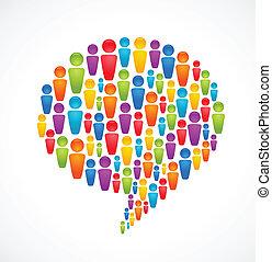 Burbuja de habla con mucha gente abstracta