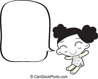 burbuja, niña, discurso, caricatura