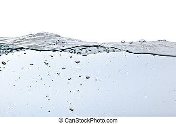 Burbujas de aire en agua aisladas en blanco