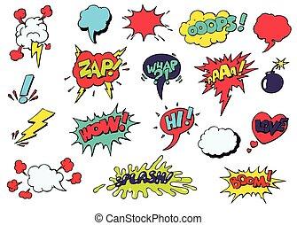 Burbujas de habla cómica para diferentes vectores de emociones